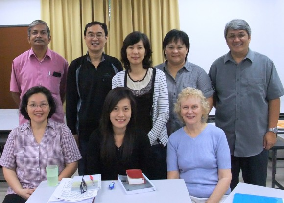 S- Rev. Benedict Muthusamy; myself; Ms Winnie Chan; Ms Ladeq Mutang; rev Carlos Pena. Seated- Ms Lina Kristo; Ms Khanittha Panam; Dr Sylvia Collinson.