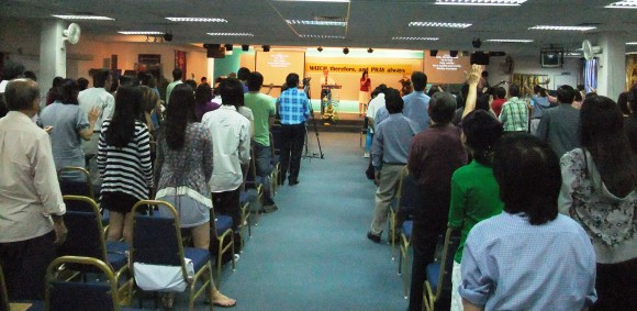 Pastor Ang leading the worship