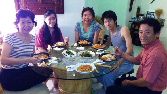 enjoying a rare family meal with the Lee family