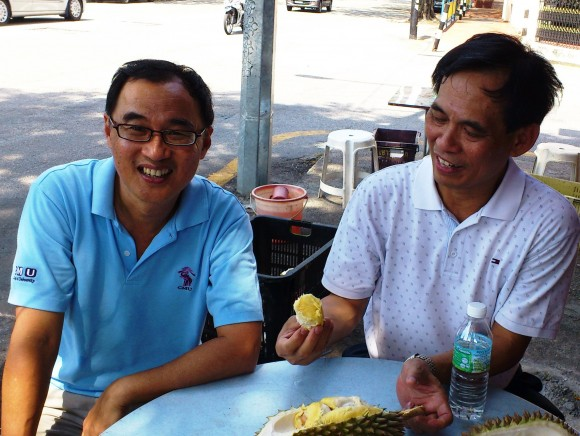 Having a durian with Paul Chan