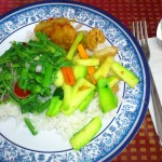 ferntips, gourd and fish in Thai sweet sauce