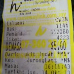 Keep the bus ticket at hand - 5 Malaysian ringgit