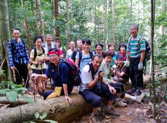 Sixteen Singapore trekkers in Gunung LambaK