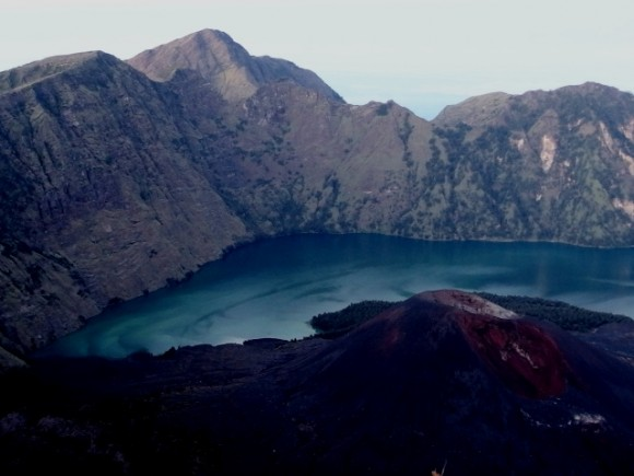 Sengara Anak crater lake is beautiful and so is the newly formed mountain in its foreground