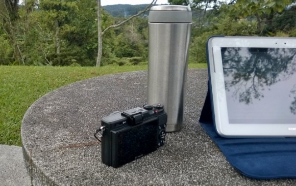 A camera, a hot flask, my trusty Samsung Note - Bible and journal and sketchbook in one.