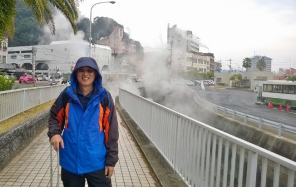 Hot steam rising -small onsen town by the sea