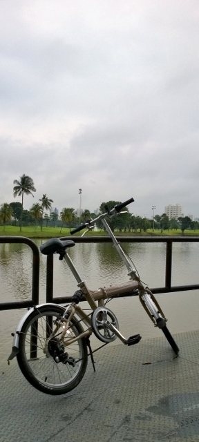 On a downcast day at a fishing jetty overlooking the Jurong Country Club Golf Course