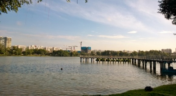 Metal boardwalk that juts into the lake. Nice job Jurong Town Corporation.