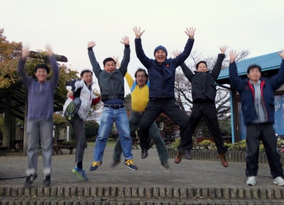 We set the camera on a tripod and we had to time our jumps. Photo by Khoon.