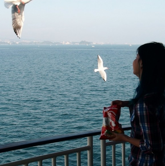 Feeding the seagulls prawn crackers.
