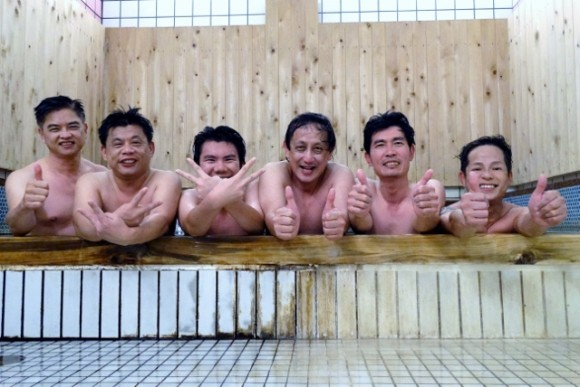 Guys in the onsen of a hotel next door