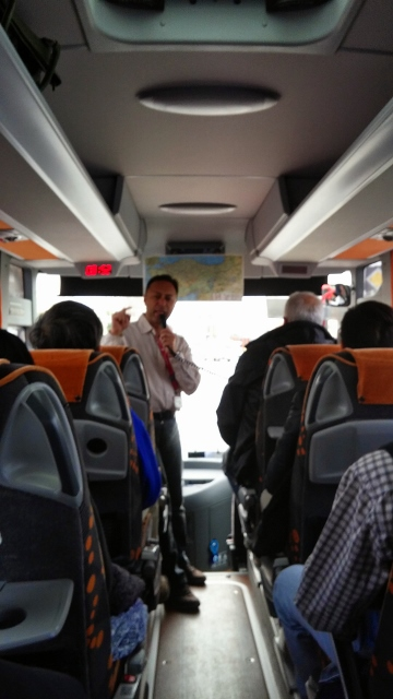 Sela, boss of tour company humouring us in the bus