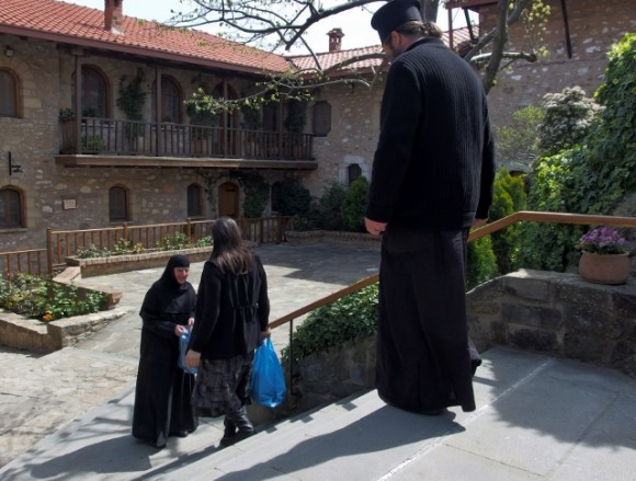 Monks and nuns in those which permit visitors and tourists