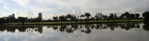 Panoramic view of Jurong Country Club golf course from the Jurong Lake park connector