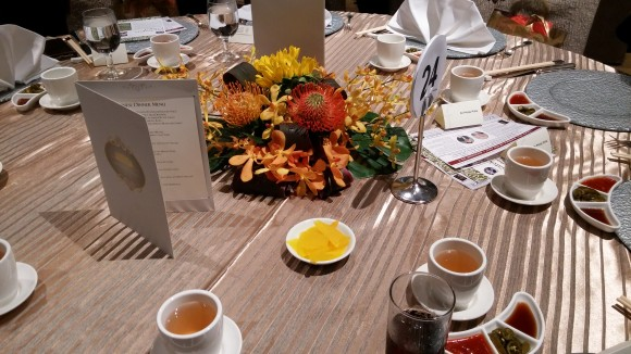 Beautifully laid table in Fullerton Hotel ballroom