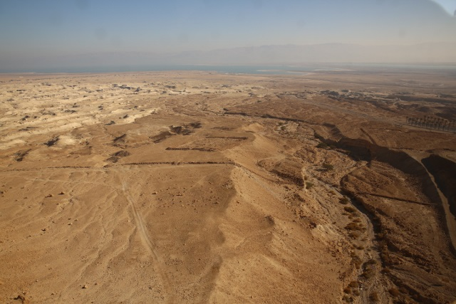 The Dead Sea in the distance