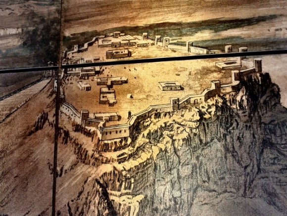Depiction of Masada on the wall of the cable car station