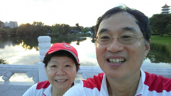Wefie on the bridge that joins the Chinese with the Japanese Gardens
