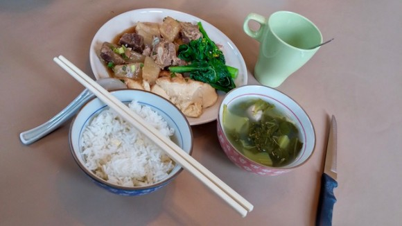 Home cooked healthy Cantonese food was served at lunch and dinner. Breakfast was bread, butter , jam and peanut butter