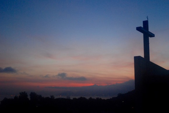 View of the cross from the top of the building, another place for night or early morning meditation.