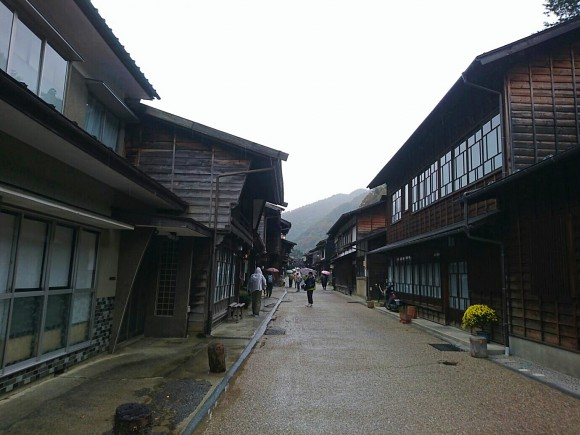 A wet day at Narai, an old Edo era town with one street a kilometre long