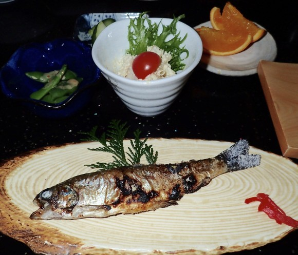 I have seen this tiny fish before. In Japan hour. Some river fish perhaps that locals are proud of.