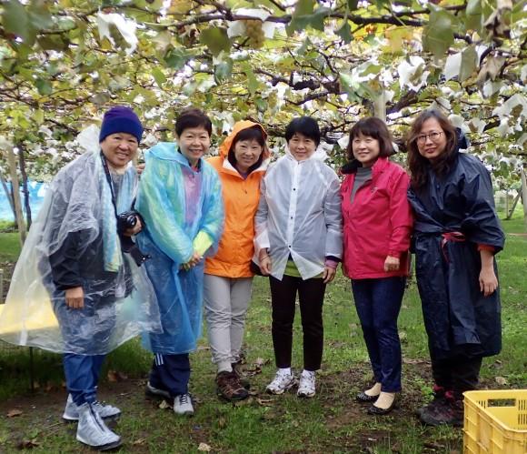 Street smart Singaporean women plucked shrewdly. Many green grapes were seen, but few were chosen.