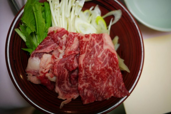 This beef shabu shabbu was a small part of the whole meal of side and main dishes.